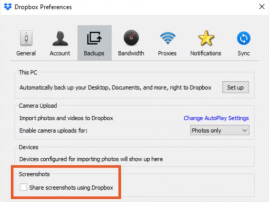 Dropbox App Settings